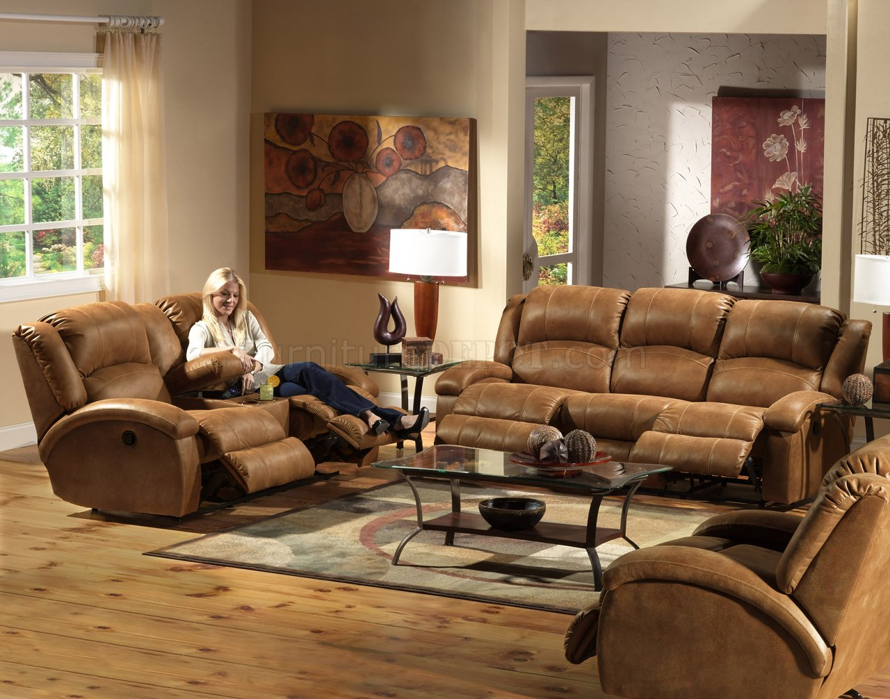 Faux Leather Sofa In A Box Saddle Faux Leather Dawson Reclining Sofa Loveseat Set
