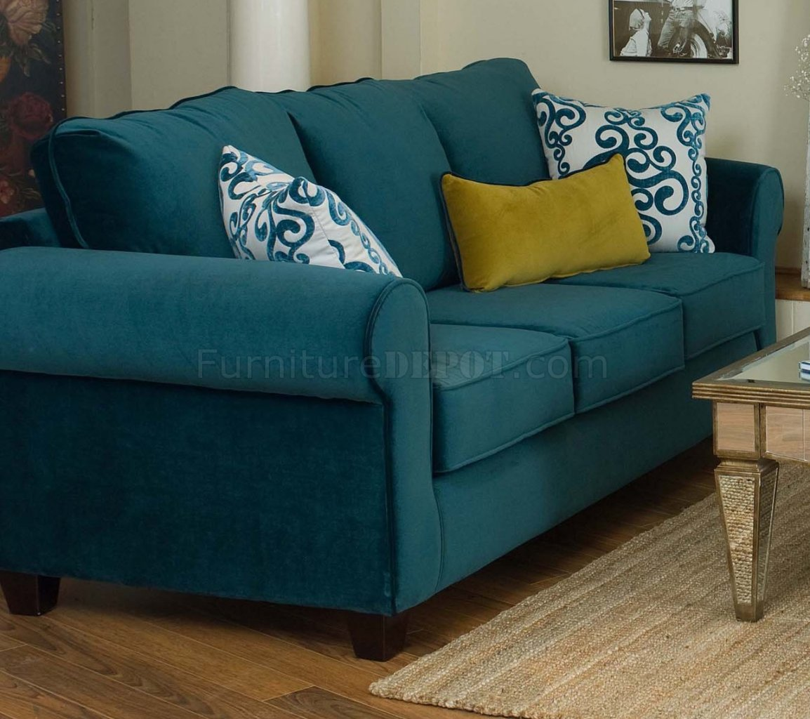 Sofa Set Color Blue Casual Fabric Living Room Blue Sofa And Golden Green Chair Set