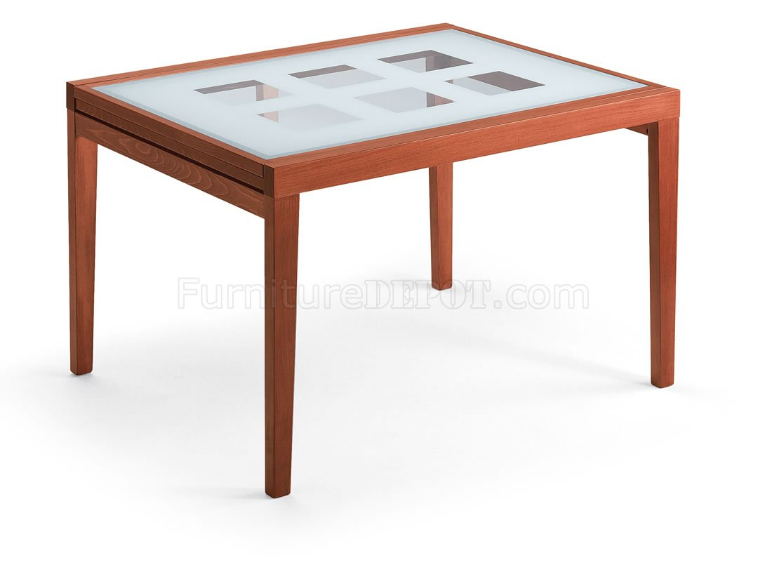 Fold Out Dining Table Contemporary Cherry Dinette W Fold Out Frosted Glass Top Table