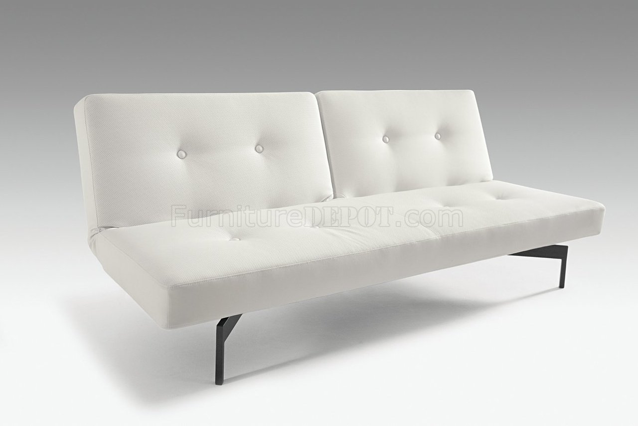 Innovation Sofa White Or Grey Leatherette Convertible Sofa Bed By Innovation