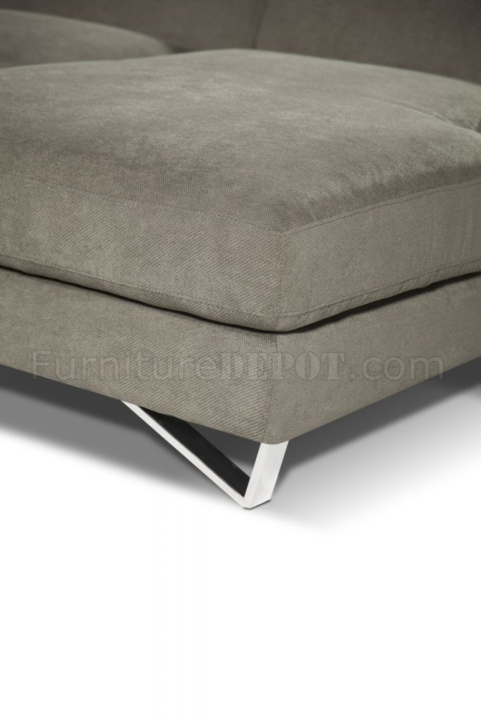 Grey Fabric Chaise Sofa Sparta Mini Sectional Sofa In Fabric By J&m W/steel Legs