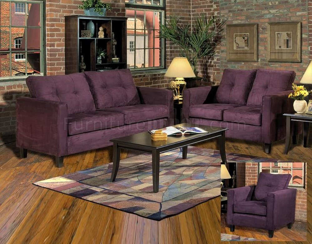 Baby Chairs Sofas 5900 Heather Sofa Loveseat Set In Eggplant Fabric By Chelsea