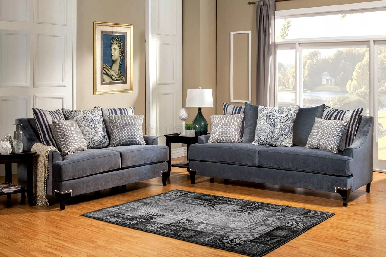 Slate Grey Living Room Vincenzo Sm2204 Sofa In Slate Blue Fabric W Options