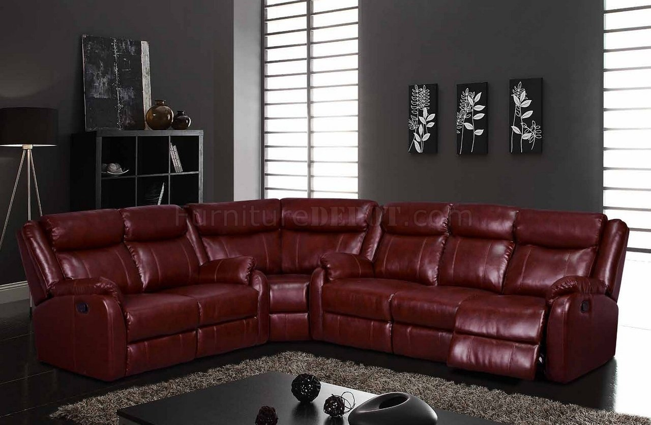 Maroon And Grey Living Room U9303 Motion Sectional Sofa In Burgundy By Global
