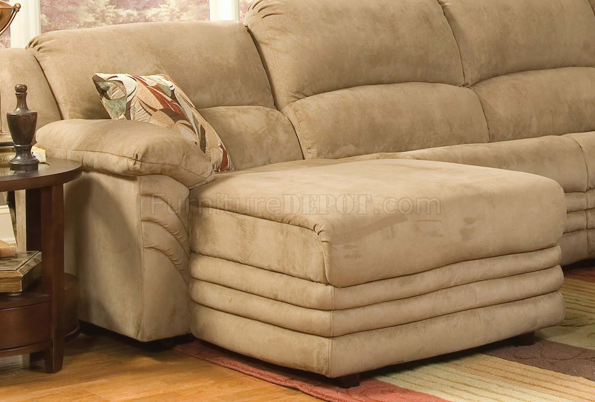 Beige Sofa Beige Microfiber Cozy Sectional W/reclining Chaise