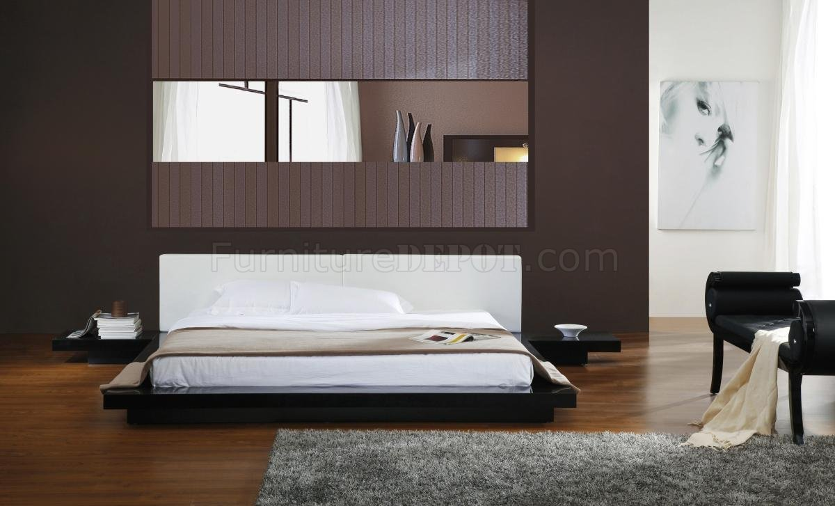 White Platform Bed Without Headboard Black Gloss Finish Modern Platform Bed W White Headboard