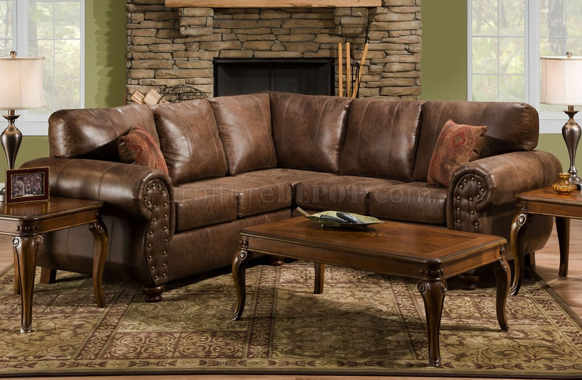 Brown Smokey Leather Like Microfiber Classic Sectional Sofa