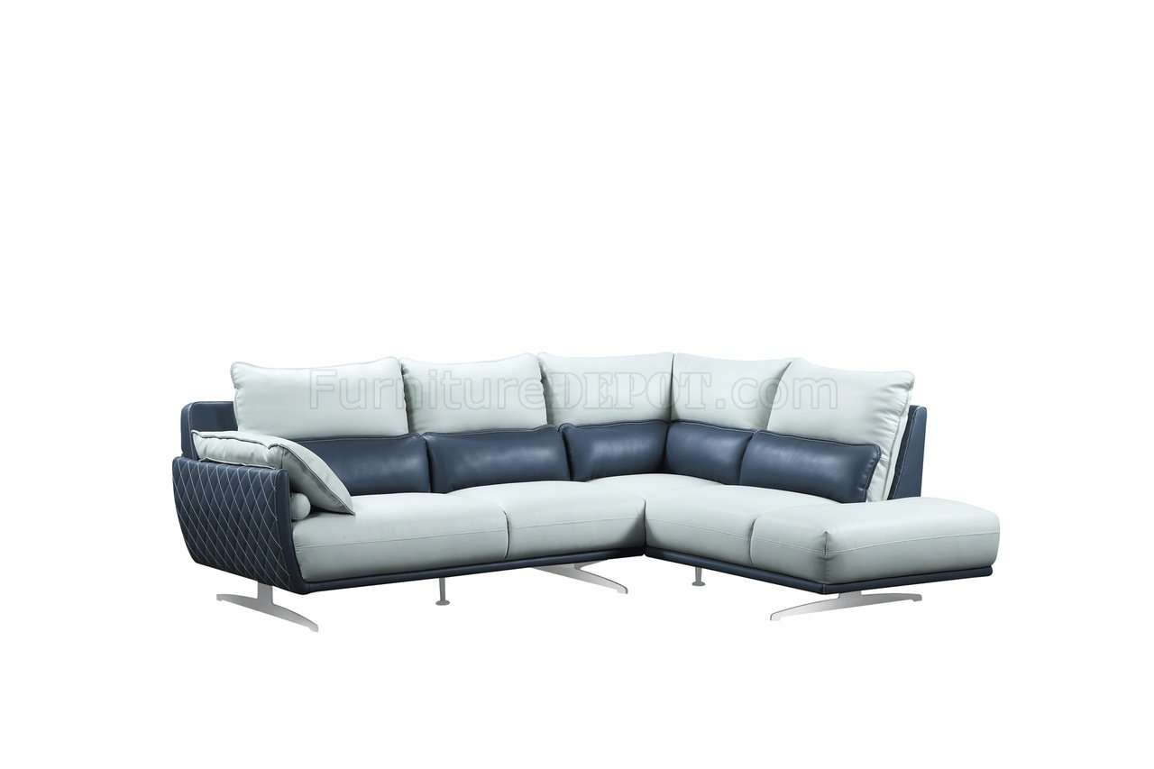 Grey Fabric Chaise Sofa 6311 Sectional Sofa In Light Grey & Blue Leather By Esf