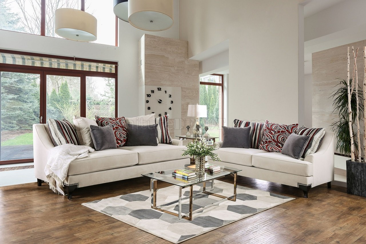 Living Room Furniture Ivory Sofa Viscontti Sofa Sm2206 In Ivory Fabric W Options