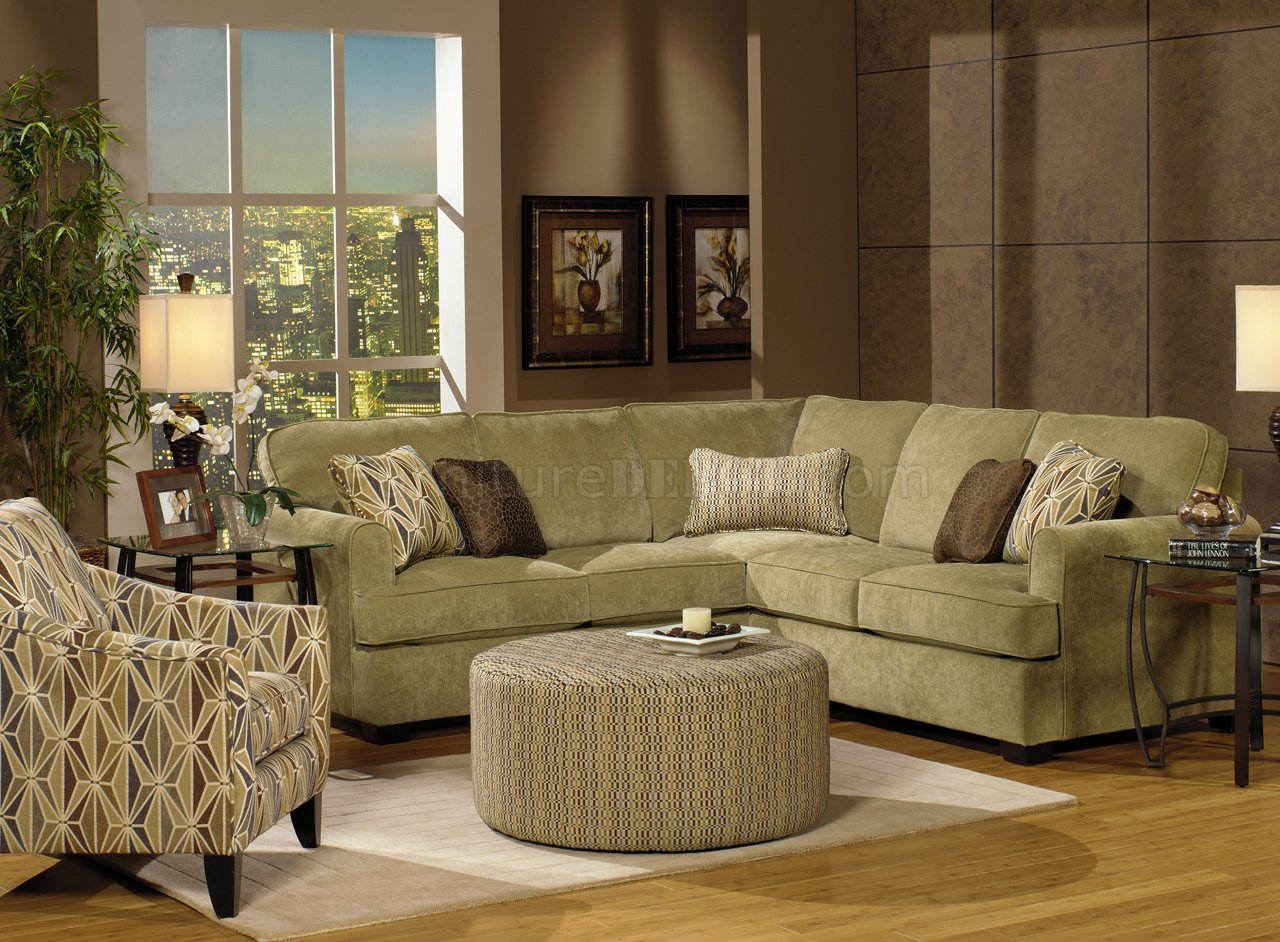 Herb Chenille Fabric Modern Sectional Sofa W Optional Items