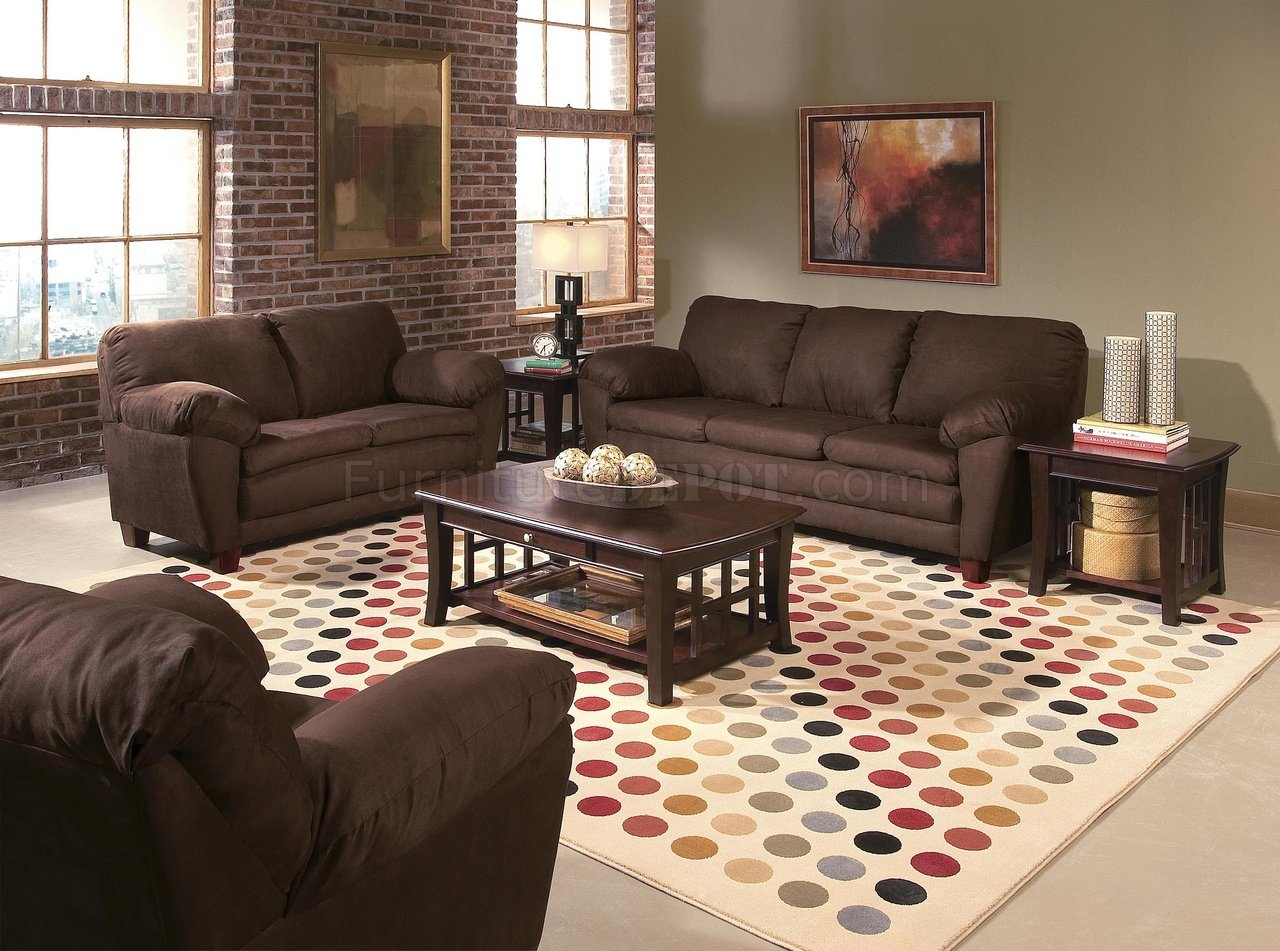 Wall Colors For Brown Leather Furniture Brown Micro Suede Contemporary Living Room W Wooden Legs