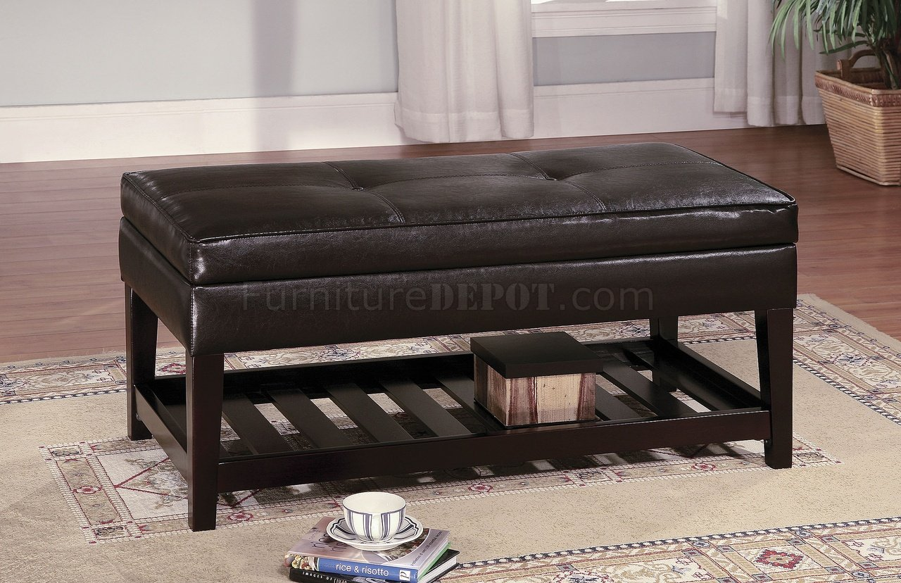 Soft Coffee Table With Storage Brown Leather Top Bench Coffee Table W Shelf And Slat