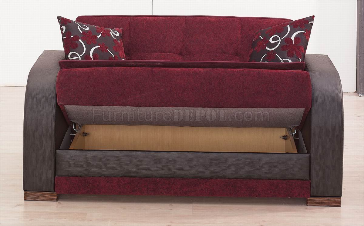 Sofa Set Offers In Mumbai Burgundy Fabric Black Vinyl Two Tone Modern Sofa Bed W Options