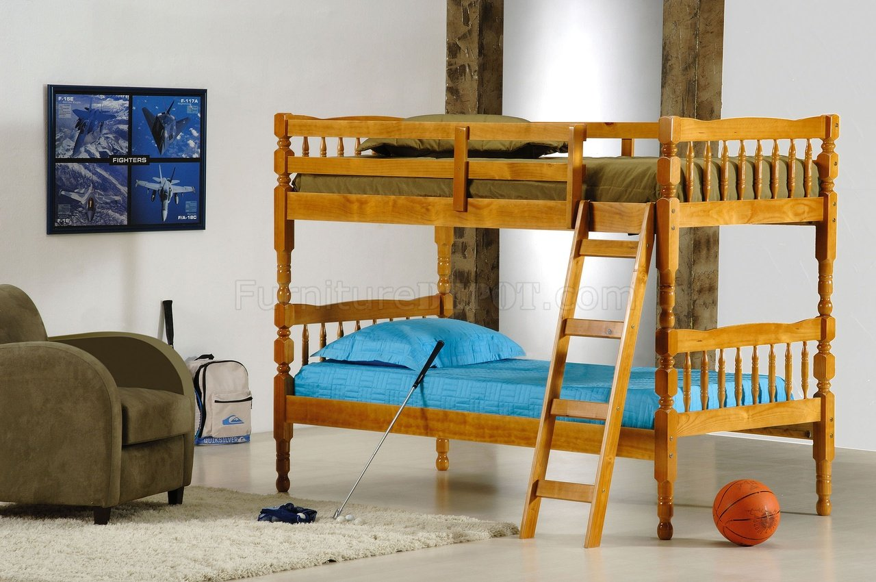 Kids Modern Bunk Bed Honey Pine Finish Contemporary Kids Twin Bunk Bed