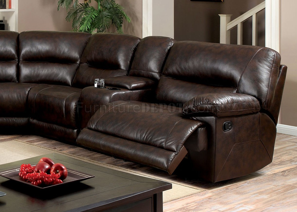 Sofa Sets Glasgow Glasgow Motion Sectional Sofa Cm6822br In Brown Leatherette