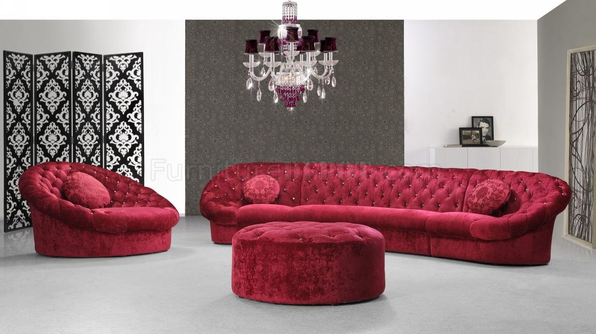 Fabric Sectional Sofas Canada Cosmopolitan Sectional Sofa Red Fabric W Chair Ottoman By Vig