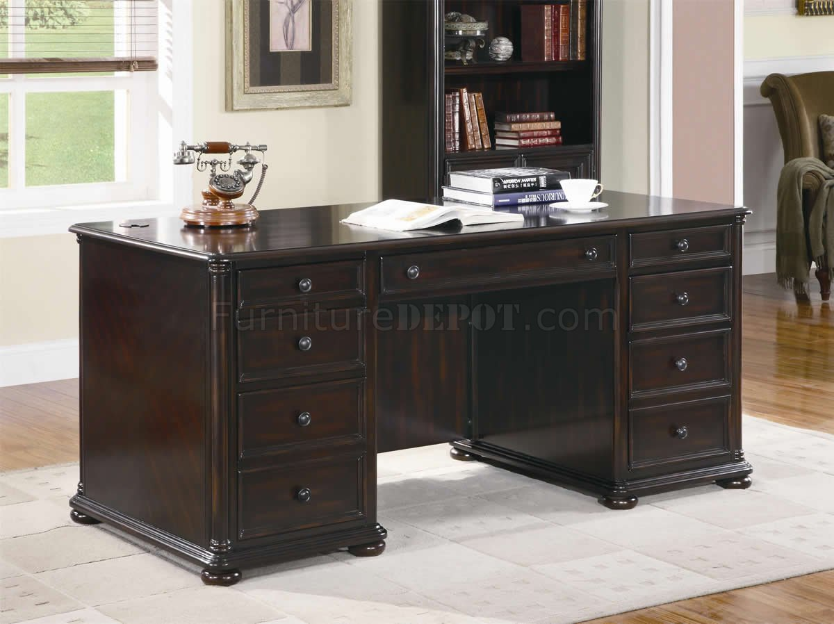 Schreibtisch Dunkelbraun Rich Dark Brown Finish Classic Office Desk W Optional Items