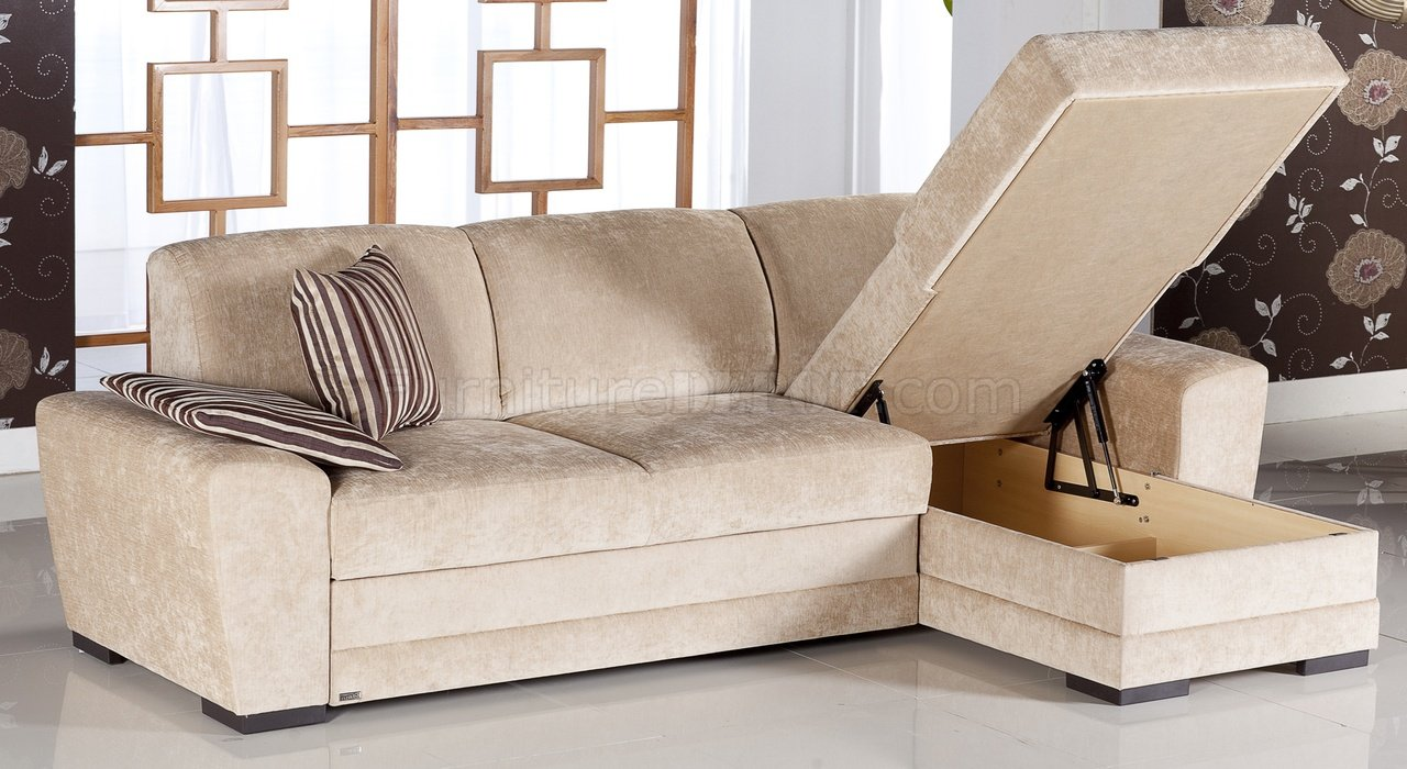 Storage Bed Chaise Sofa Cream Fabric Modern Sectional Sofa W/storage Space