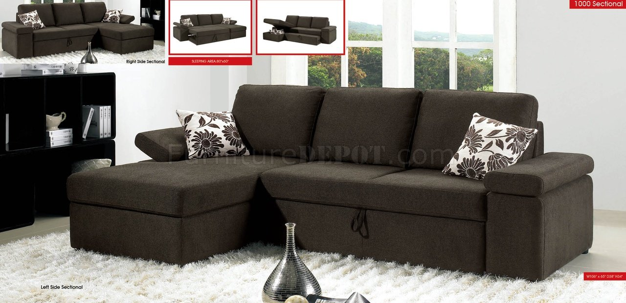 Sectional Pull Out Couch Charcoal Brown Fabric Modern Sectional Sofa W Pull Out Bed