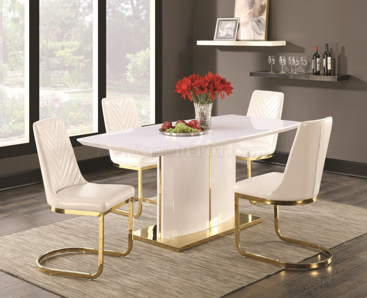 White And Gold Coasters Cornelia Dining Table Set 5pc 106711 High Gloss White By