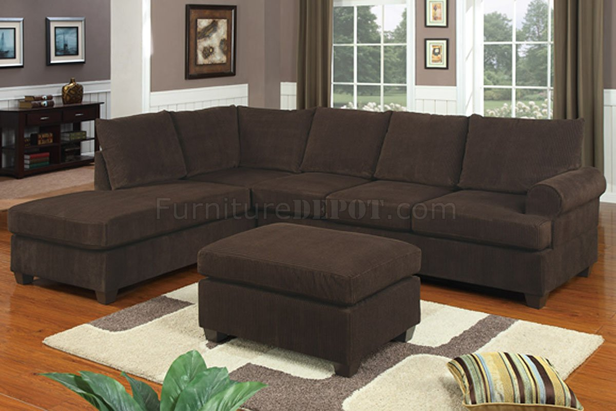 Cheap Sectional Sofa F7135 Chocolate Corduroy Reversible Tufted Sectional By Poundex