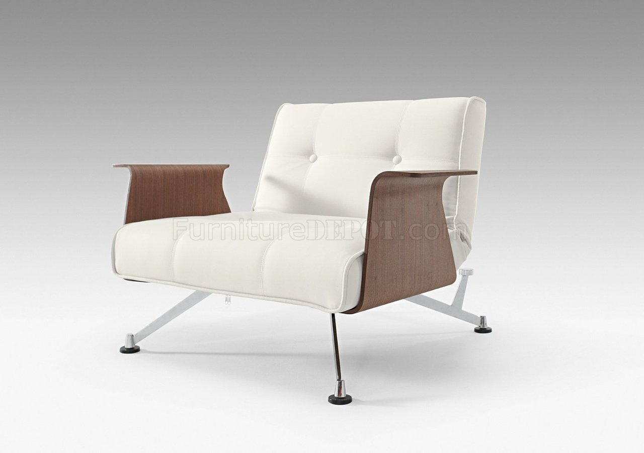 White Modern Chair White Leatherette Modern Club Chair W Walnut Arms
