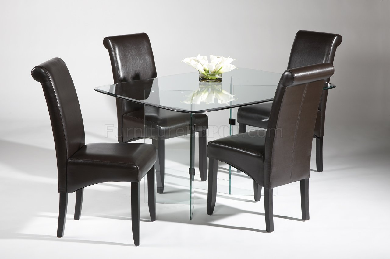 Modern Dining Table Chairs Surfboard Glass Top Modern Dining Table W Optional Chairs