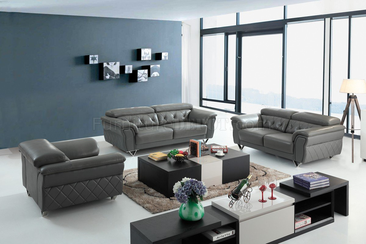 Grey Half Couch Perry Sofa Set 3pc In Grey Half Leather By Vig