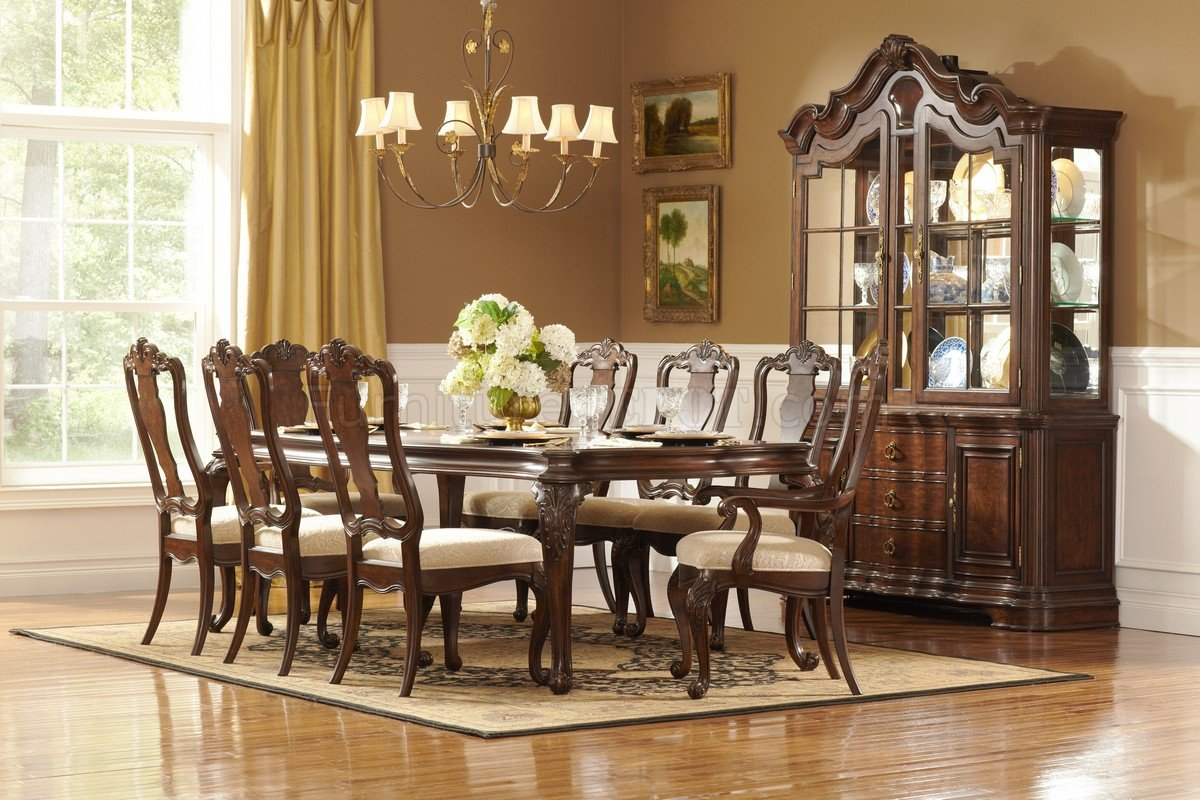 Fancy Dining Room Sets Rich Brown Finish Classic Dining Table W Optional Items