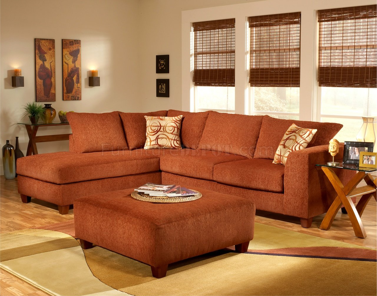 Wohnzimmer Orange Couch Terracotta Fabric Modern Sectional Sofa W Optional Ottoman