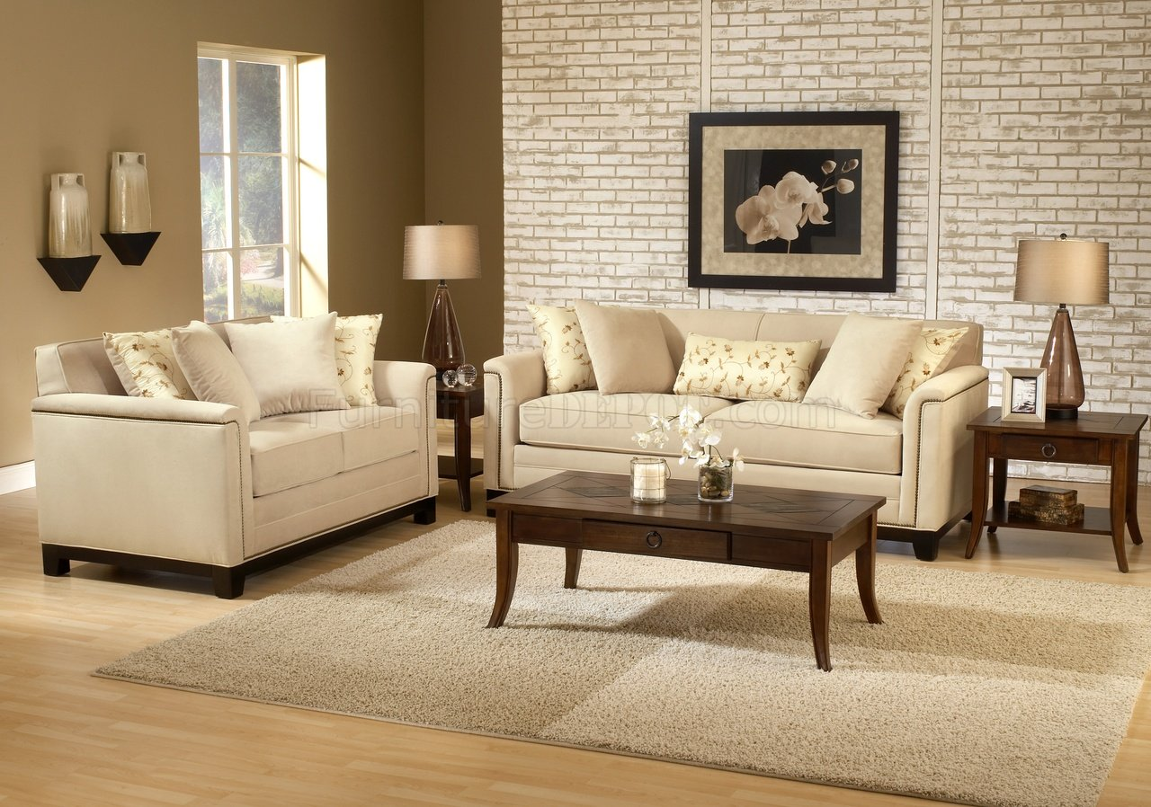 Contemporary Living Set Beige Fabric Contemporary Living Room Sofa Loveseat Set