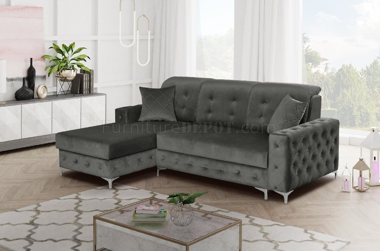 Mini Couch Verso Mini Sectional Sofa In Gray By Skyler Design