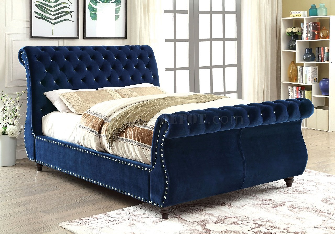 Noella Cm7128nv Luxury Bed In Navy Fabric Upholstery