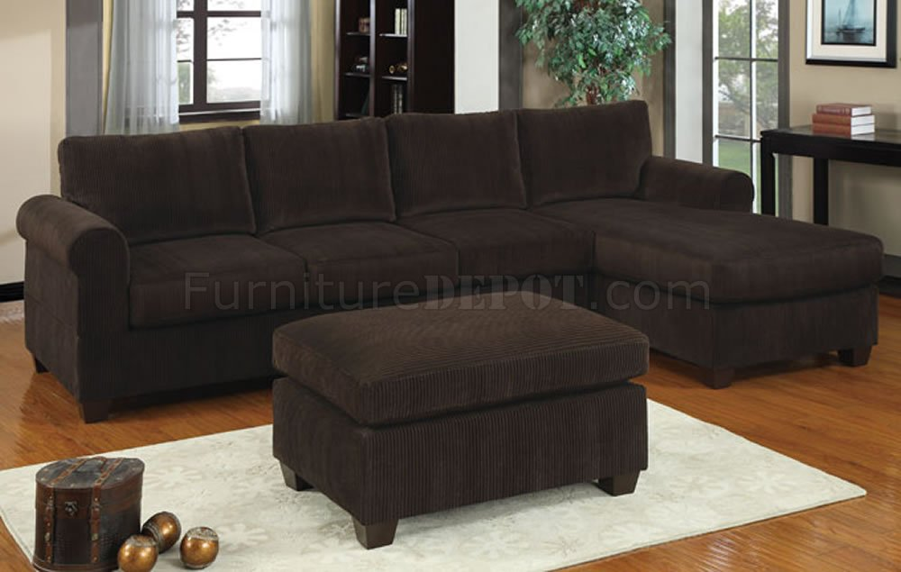 Corduroy Sofa Sectional F7131 Reversible Sectional Sofa In Chocolate Corduroy By
