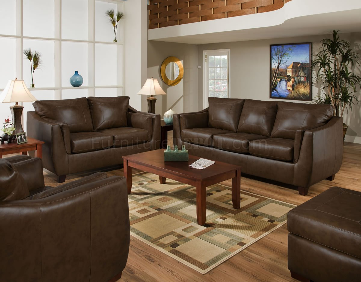 Brown Sofa And Loveseat Sets Brown Cordovan Bonded Leather Sofa Loveseat Set W Options