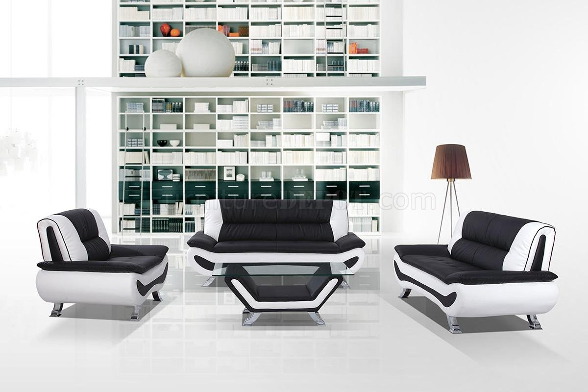 3032c 3pc Sofa Set In Black White Eco Leather By Vig