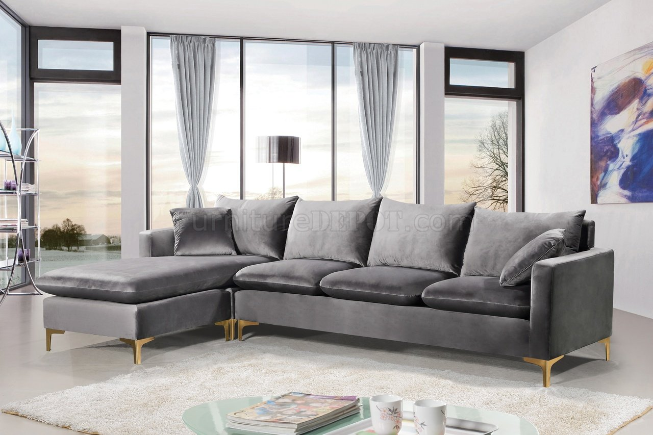 Interio Bettsofa Naimo Naomi Sectional Sofa 636 In Grey Velvet Fabric By Meridian