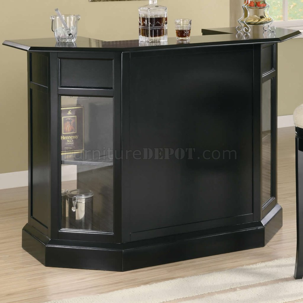 Modern Wine Rack Furniture Black Finish Modern Bar Unit W Wine Rack And Stemware Storage