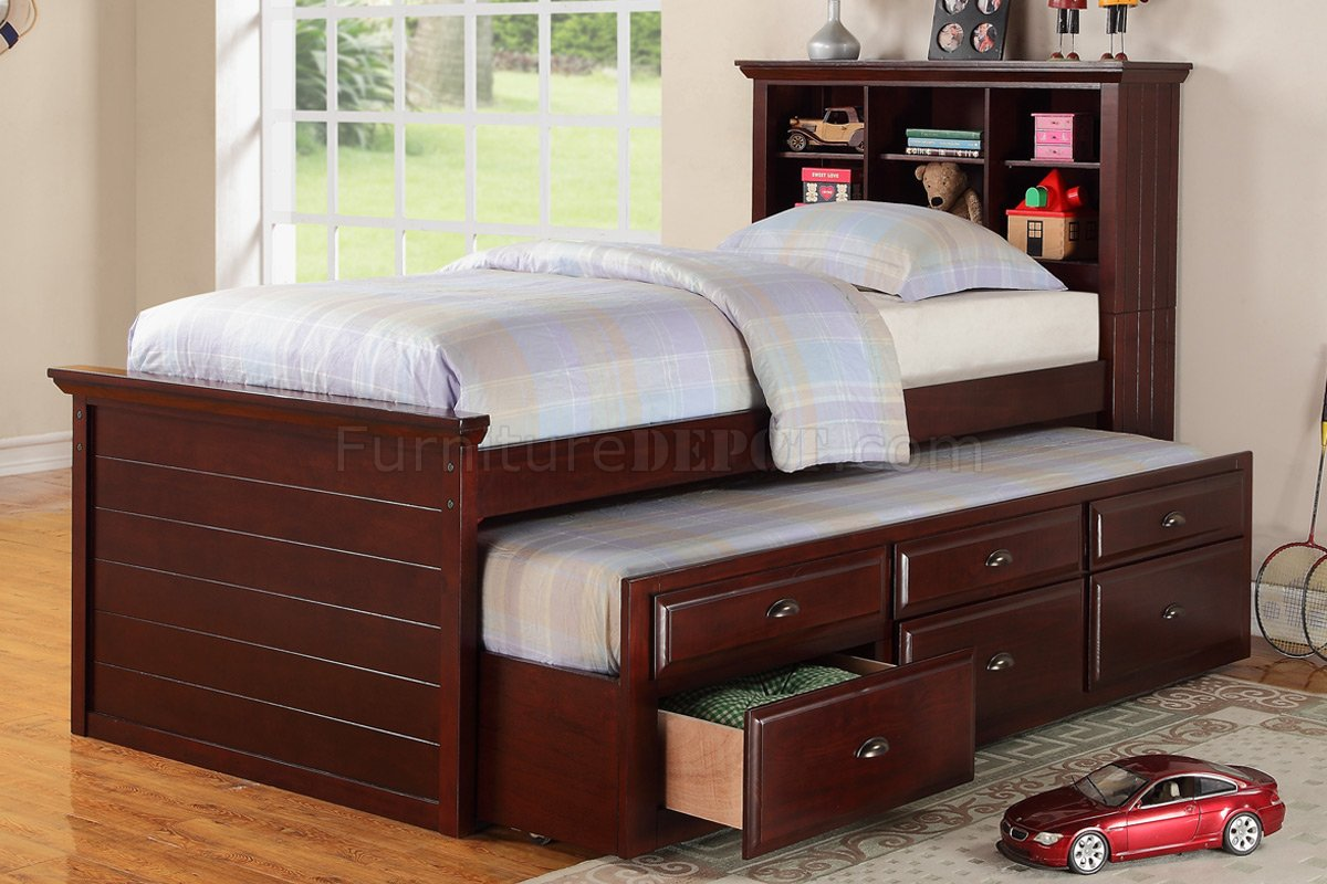 Discount Trundle Beds F9220 Kids Bedroom 3pc Set By Poundex In Cherry W Trundle Bed