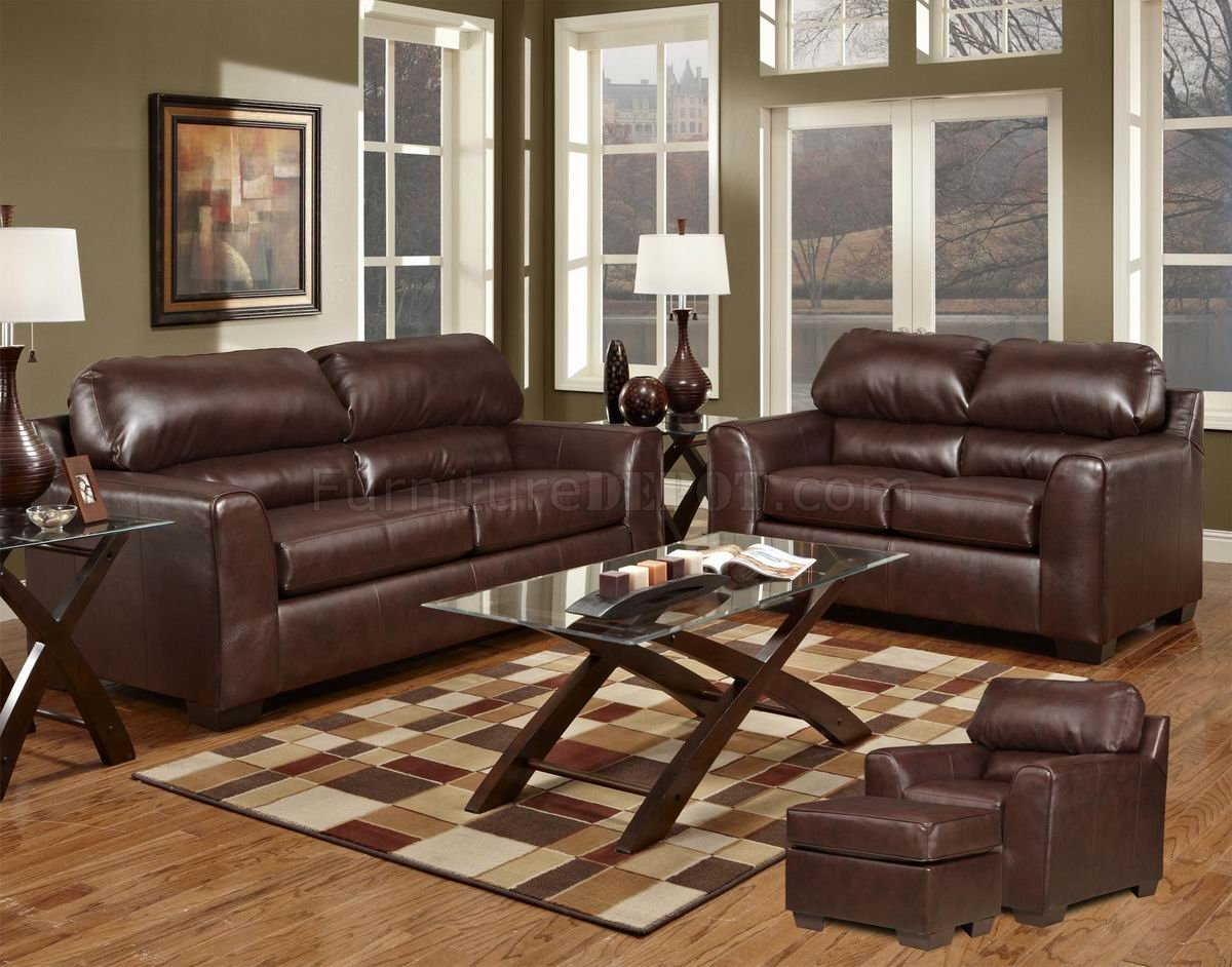 Dark Brown Couch Bonded Leather Sofa Set Leather Sofa Set For Living Room