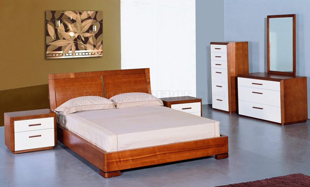 Two Bedroom Set Teak And White Lacquer Finish Modern Two Tone Bedroom Set