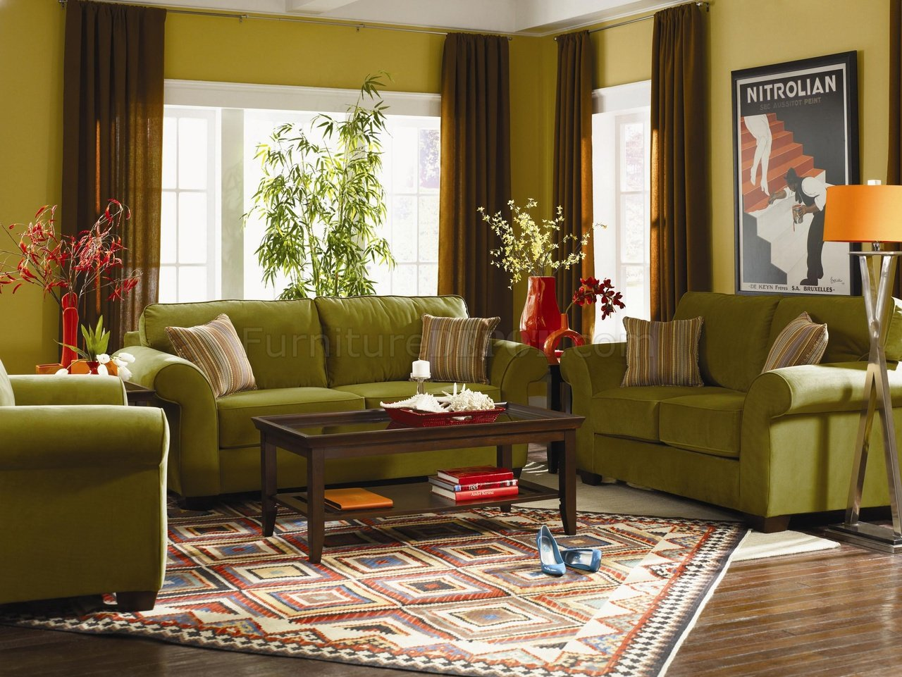 Velvet Sectional Contemporary Living Room U440 Olive Wynnewood