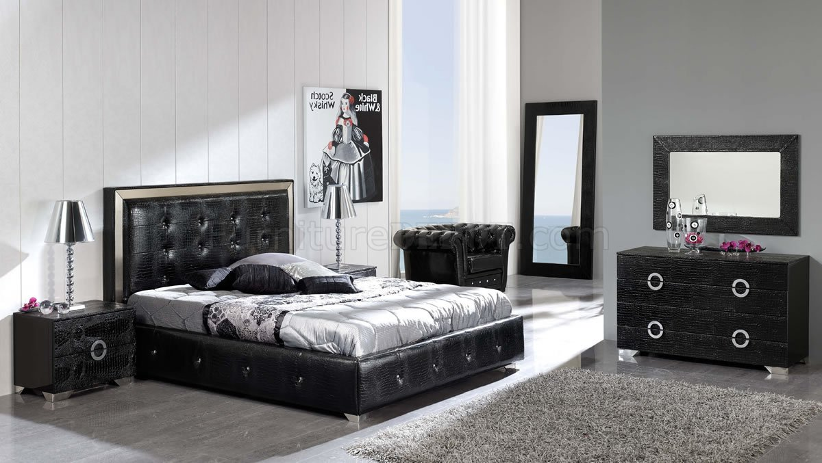 Black Button Tufted Faux Leather Modern Platform Bed W Storage