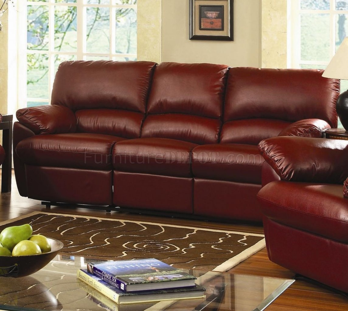 Bonded Leather Reclining Livng Room U641 Burgundy