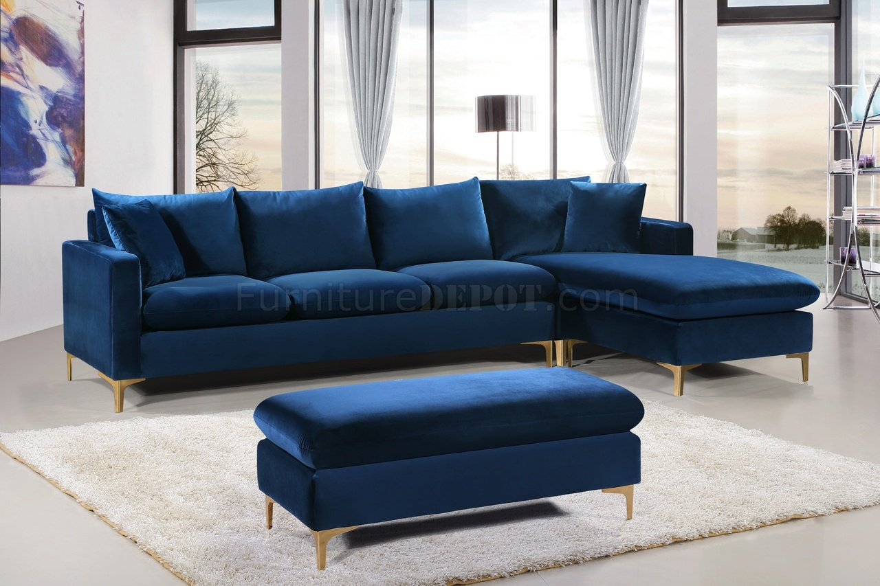 Interio Bettsofa Naimo Naomi Sectional Sofa 636 In Navy Velvet Fabric By Meridian