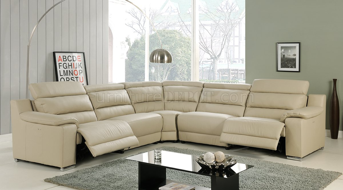 Leather Sectional Sofa Recliner Elda Reclining Sectional Sofa In Beige Leather By At Home Usa