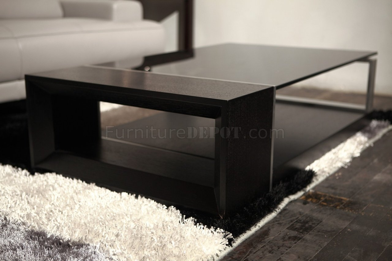 Coffee Table With Black Glass Top Treble Coffee Table Beverly Hills Espresso W Black