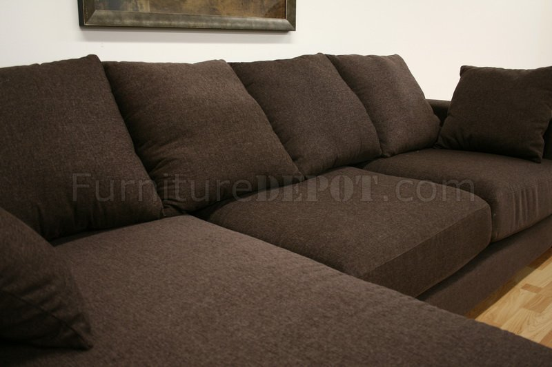 Sofa Set With Steel Legs Brown Twill Fabric Modern Sectional Sofa Florence