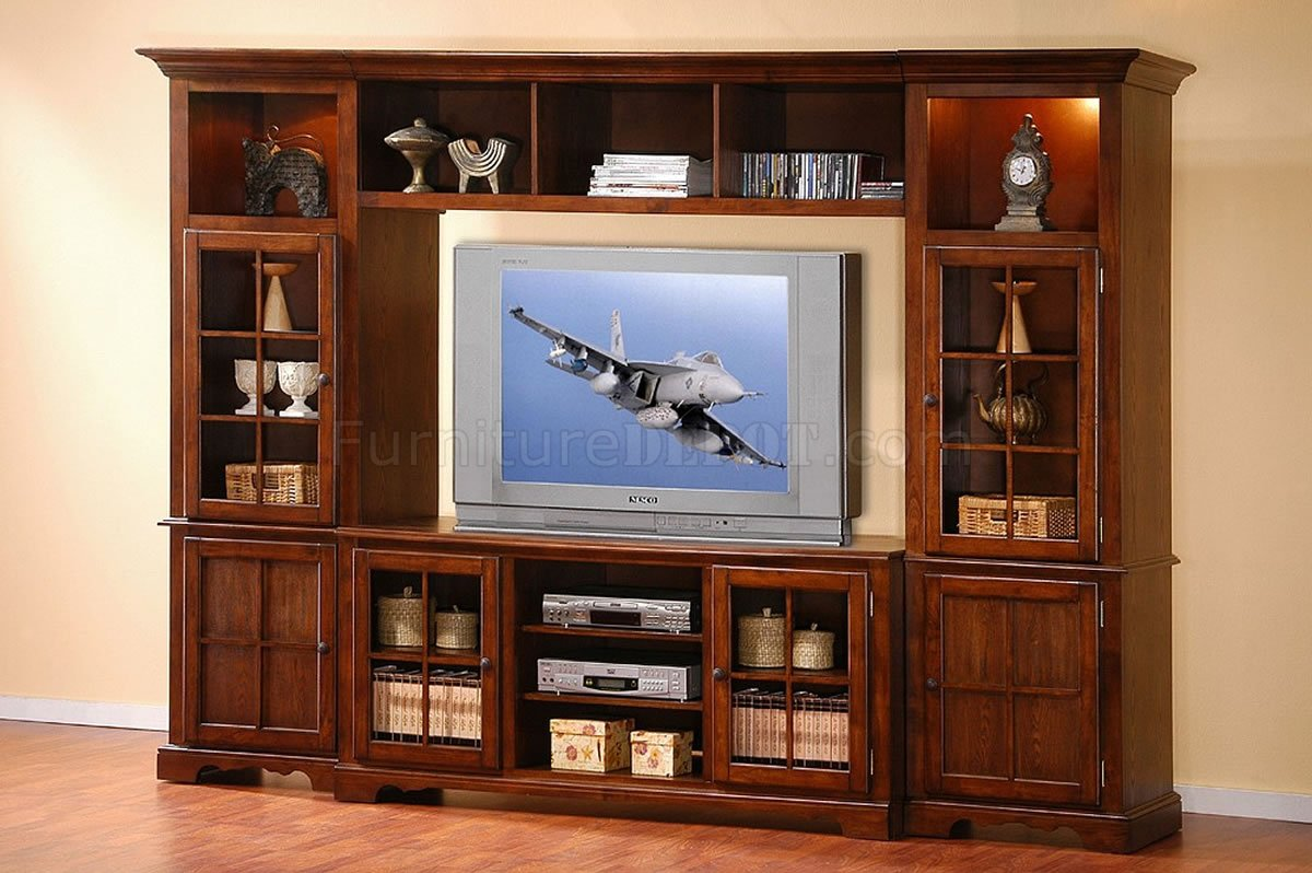 Large Wall Units For Living Room Merlot Oak Finish Classic Large Wall Unit W Lights In Towers