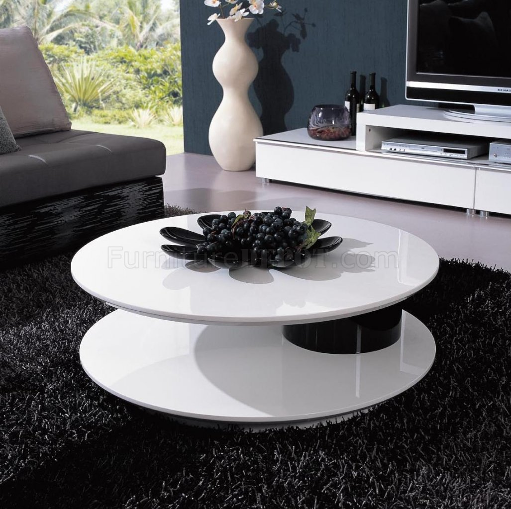 Modern Black And White Coffee Table White And Black Two Tone Finish Modern Coffee Table W Swivel Top